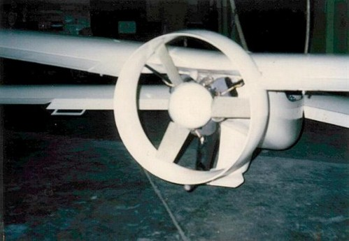 Ducted fans can improve the static thrust of a airplane. But ... damage of the rear mounted prop by rocks was a problem at first. Some device was later added to prevent this.