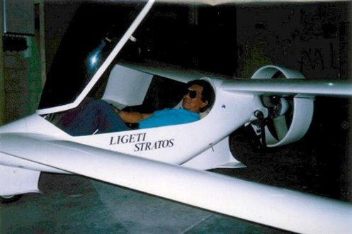 "In the Stratos a pilot is lying backwards just like in a modern glider.This makes the frontal area of the airplane smaller.The drag gets lower this way. The performance gets higher.And ... you can relax in the air. I got a mail from the person in this picture (Romeo F. Garcia) about the devise that was installed on the production version. Later it was said to have been the reason for the crash. Romeo Garcia tells me: ""It was not designed to produced lift but rather just some sort of an open air deflector to maximize the flow of air to the ducted fan, it was also supposed to keep the stone away from the fan blades when the aircraft is taxing, we were having problem with damage fan blades and as designed it was successful. it added to the thrust from the ducted fan. My only concern at that time is that we had exceeded the rules on making so many improvements on the aircraft that was already so perfectly beautifully designed, but Charles was always full of ideas, he was not satisfied that I one day I told him, ""Charles why don't we leave Stratos alone and design a new aircraft?, and he just said , Stratos is not yet finish."""