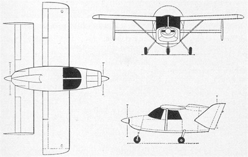 The French Piel C.P. 500, a similar design as the Pou du Ciel,but with more conventional control surfaces and a pusher-pull configuration.