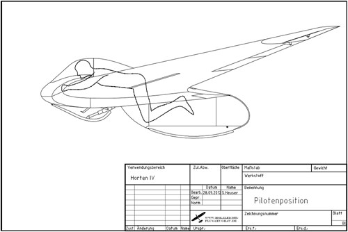 A drawing made by Sascha Heuser. It shows the pilots position. Copyright Holzleicht-& Flugzeugbau Sascha Heuser.
