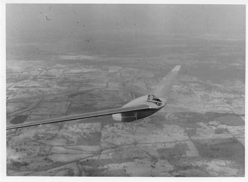 Horten HIV. A glider of the Horten Brothers which uses a pilot in prone position.